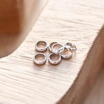 Perle en métal Anneau 6mm Argent gris x 18