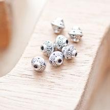 Perle en métal Bicône 7x6.5mm à motifs Argent vieilli x 14