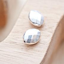 Perle en métal Ovale 14x11mm à facettes Argent vieilli x 2