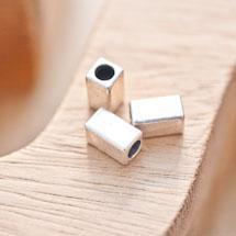 Perle en métal Rectangle 10x5.5mm Tube Argent vieilli x 8