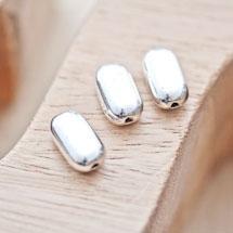 Perle en métal Rectangle 14x8mm Plate arrondie Argent vieilli x 4