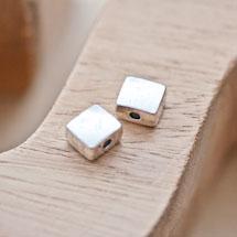 Perle en métal Rectangle 8x9mm Plate Argent vieilli x 4