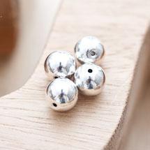 Perle en métal Ronde 10mm Argent gris x 4