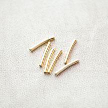 Perle en métal Tube 15x2mm Courbé Doré x 25pcs