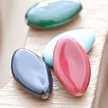 Perle en porcelaine Ovale 23x13mm Couleur mixte x 4