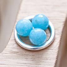 Perle en Quartz Ronde 10mm Facettes Bleu x 8