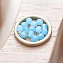 Perle en Quartz Ronde 4mm Facettes Bleu x 20