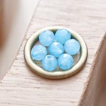 Perle en Quartz Ronde 6mm Facettes Bleu x 20