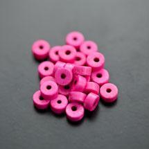 Perle en Turquoise Synthétique Pastille 6x3mm Rose intense x 38pcs