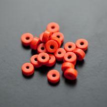 Perle en Turquoise Synthétique Pastille 6x3mm Rouge Orange x 38pcs