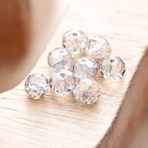 Perle en verre Boulier 8mm Gris miroir x 8