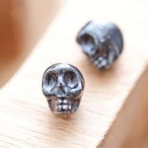 Perle en porcelaine 13x11mm Tête de mort Noir x 2