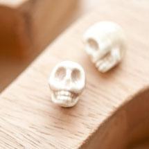 Perle en porcelaine 13x11mm Tête de mort Fumé x 2