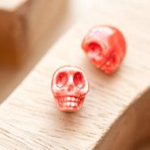 Perle en porcelaine 13x11mm Tête de mort Rouge x 2