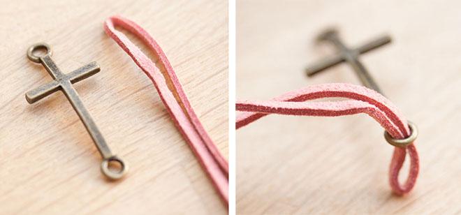 diy creation bijoux bracelet croix suedine