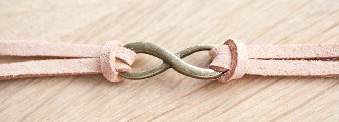 diy creation bijoux bracelet infini suédine