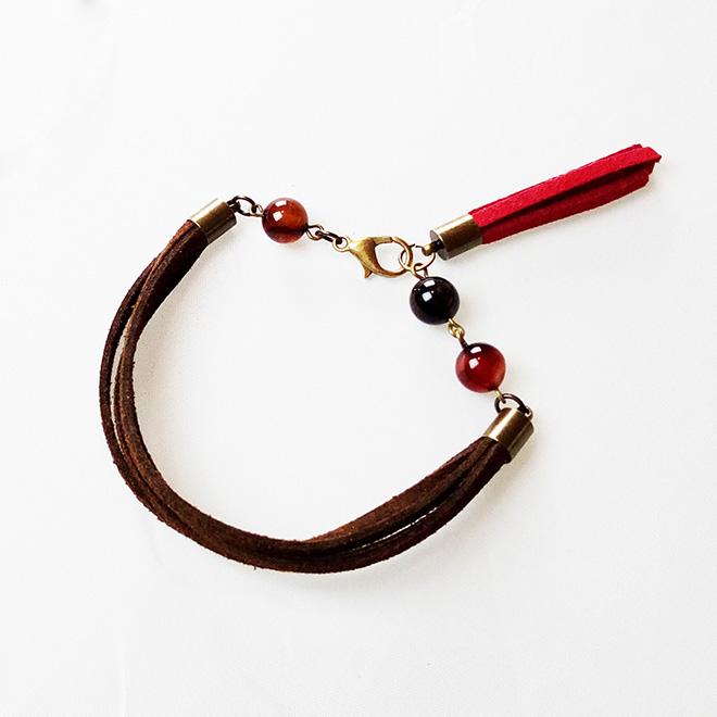 Bracelet suédine et perles d'agates