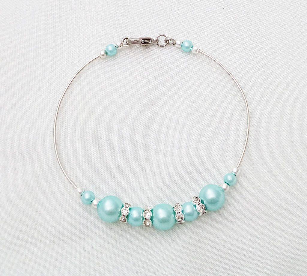 bracelet rigide perles nacrées