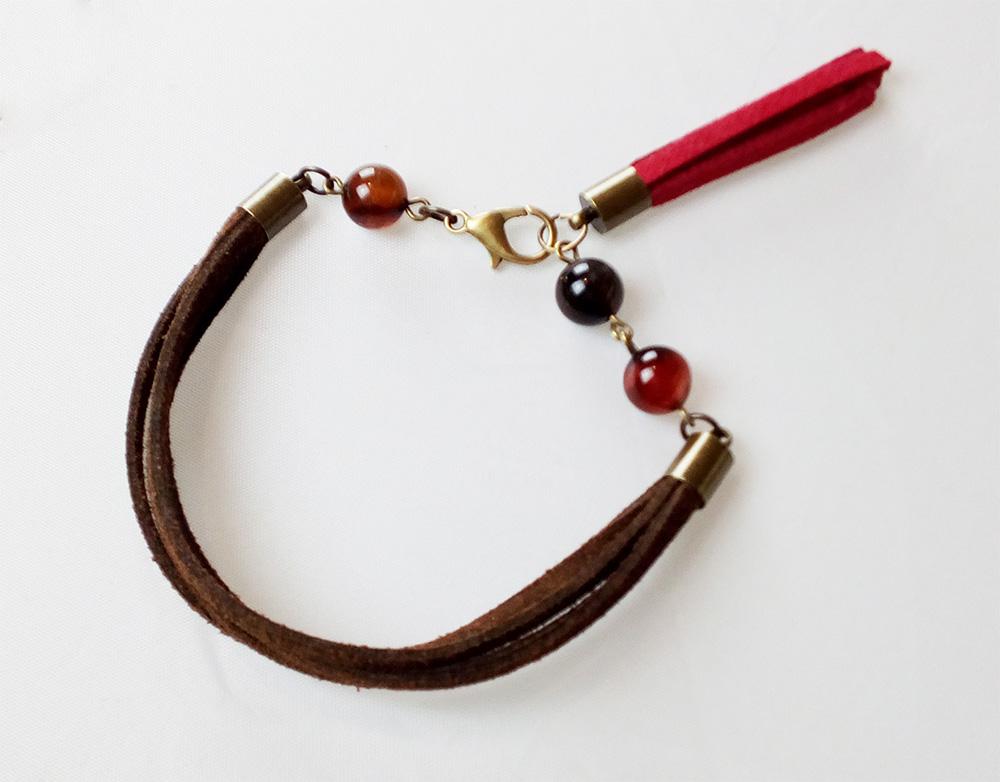 bracelet suédine et agate