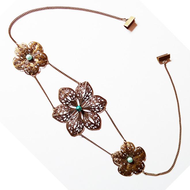 Headband chaîne et estampes bronze vieilli ornées de perles