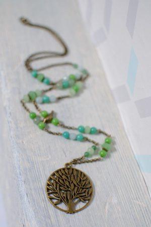 sautoir zen bronze vieilli et camaïeu vert turquoise