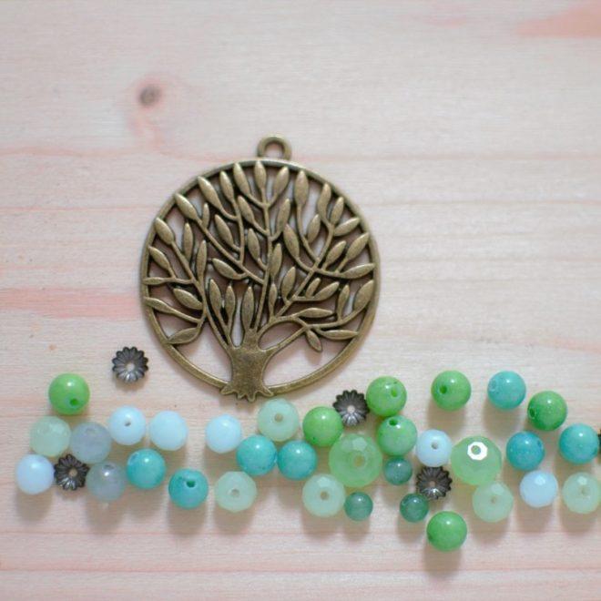 Tuto : Sautoir Zen arbre bronze et perles vertes