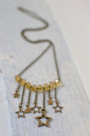 collier bronze vieilli, étoiles et perles jaunes