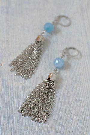 boucles d'oreilles pompons en chaîne et perles en quartz