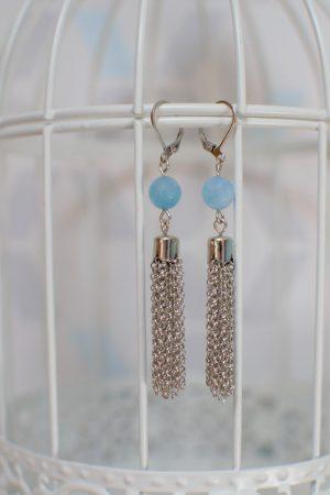 boucles d'oreilles pendantes bleues et argentées